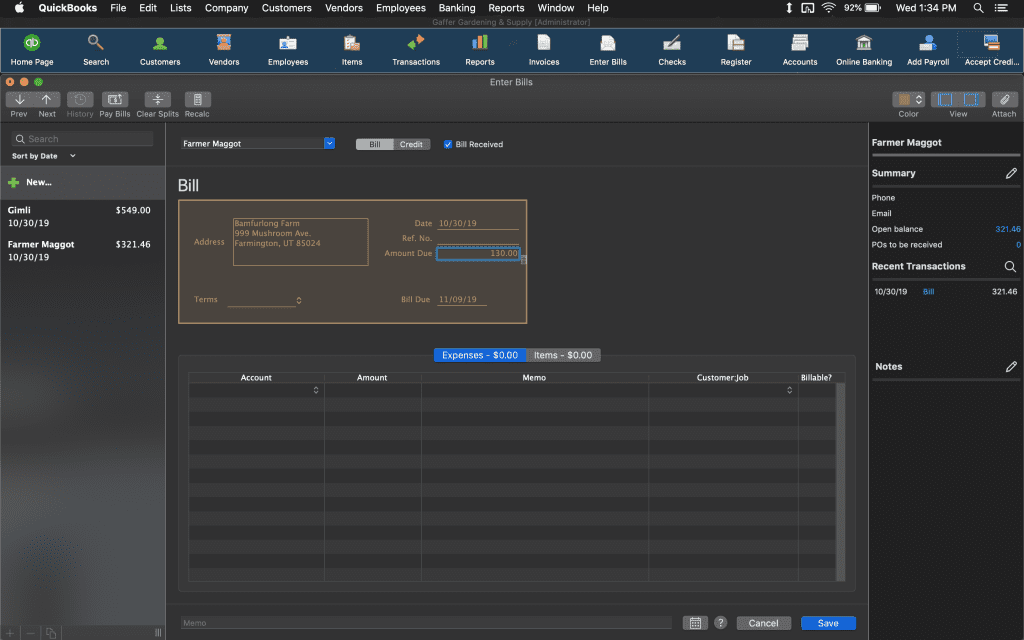 Billing page on QuickBook Mac 2020.