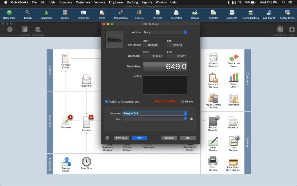 Mileage deduction page on QuickBooks Mac 2020.