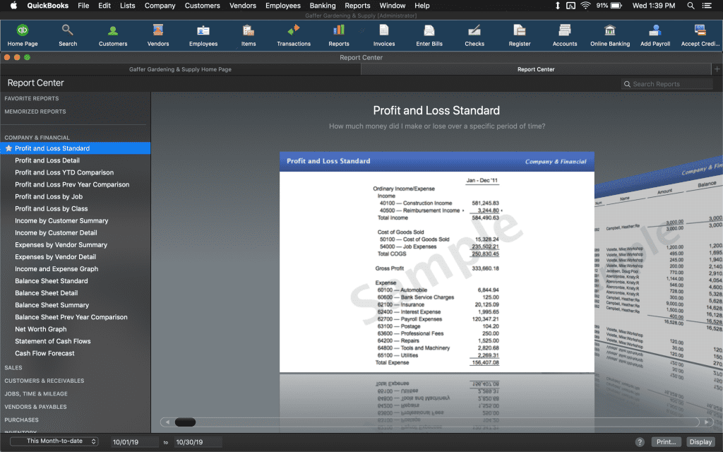 Reports page on QuickBooks Mac 2020.