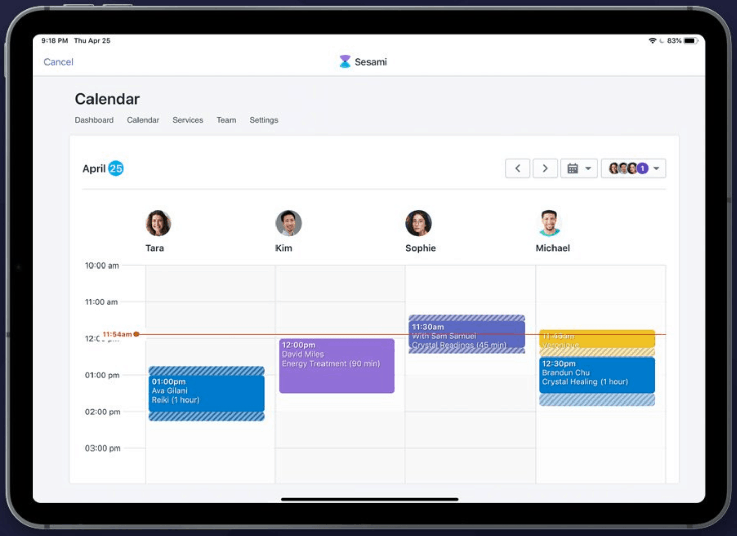 Shopify with Sesami integration screenshot on iPad showing calendar scheduling