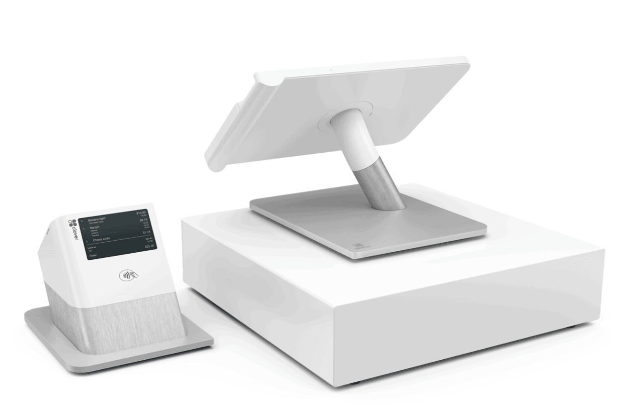 clover station with cash drawer and receipt printer with customer-facing display