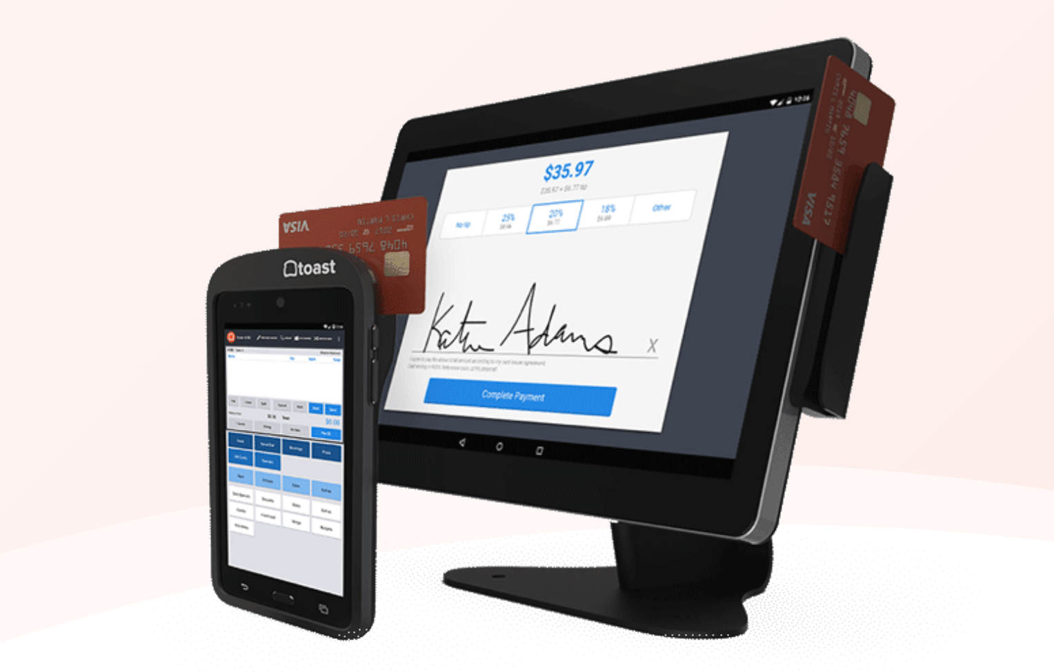 toast pos with handheld mobile device for tableside payments