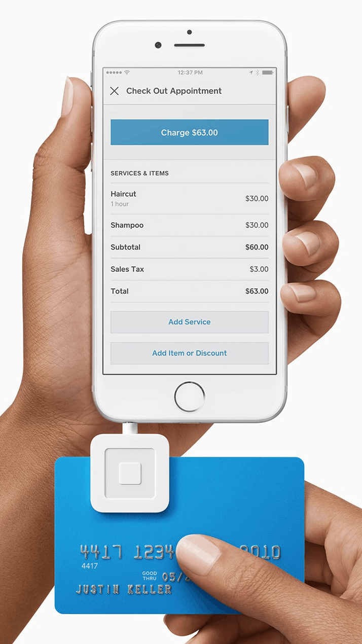 Square Appointments mobile app on older iPhone with headphone jack credit card reader