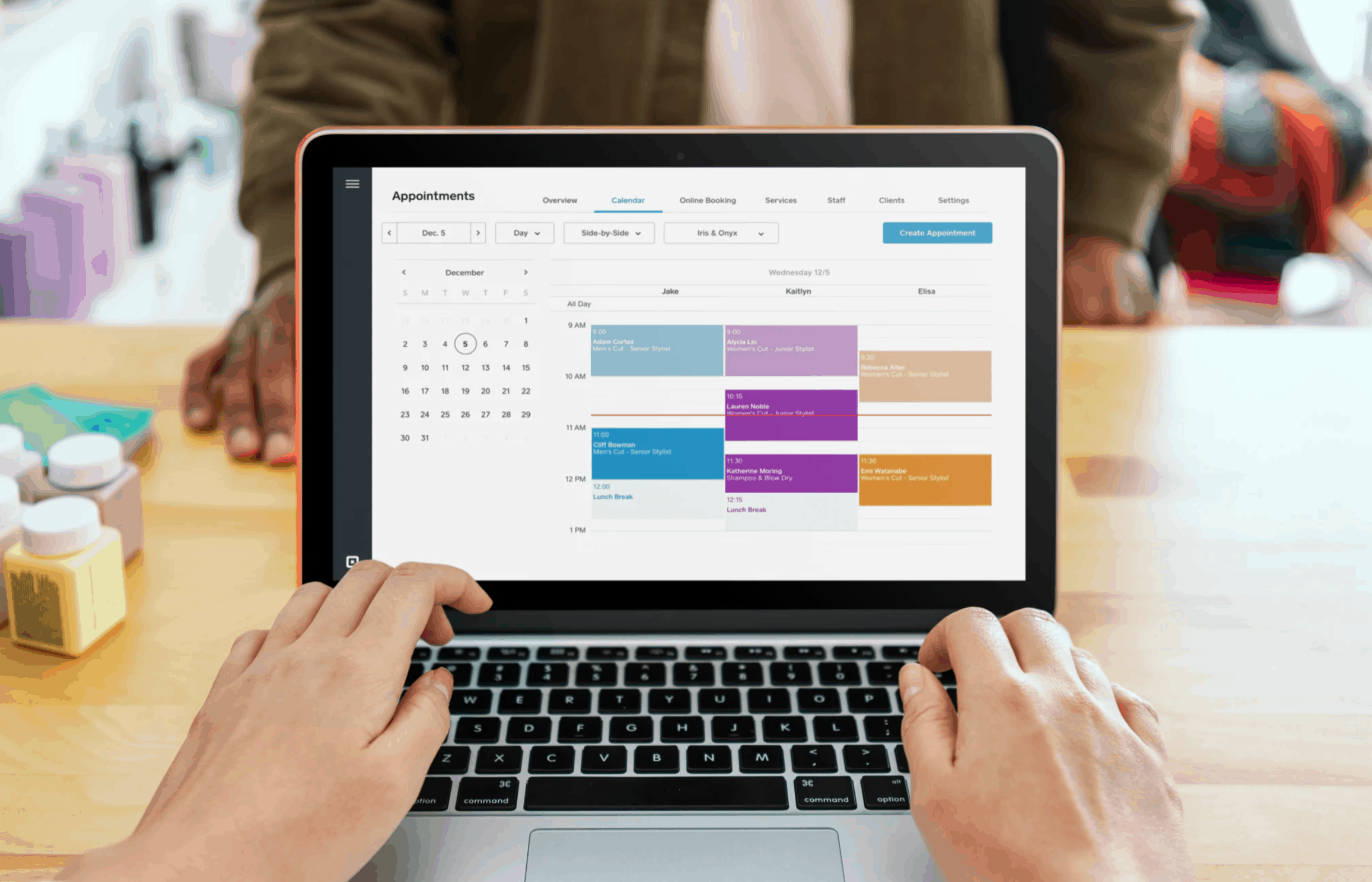 square appointments calendar view on laptop