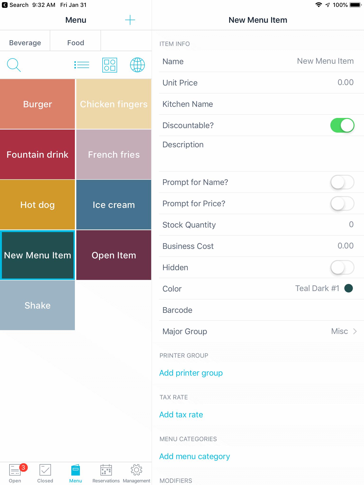ambur pos menu screen