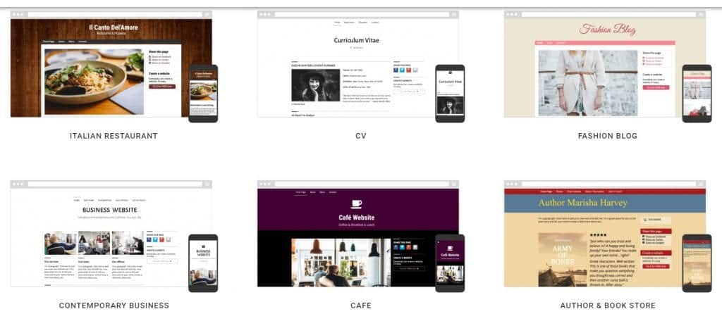 SimpleSite templates and themes