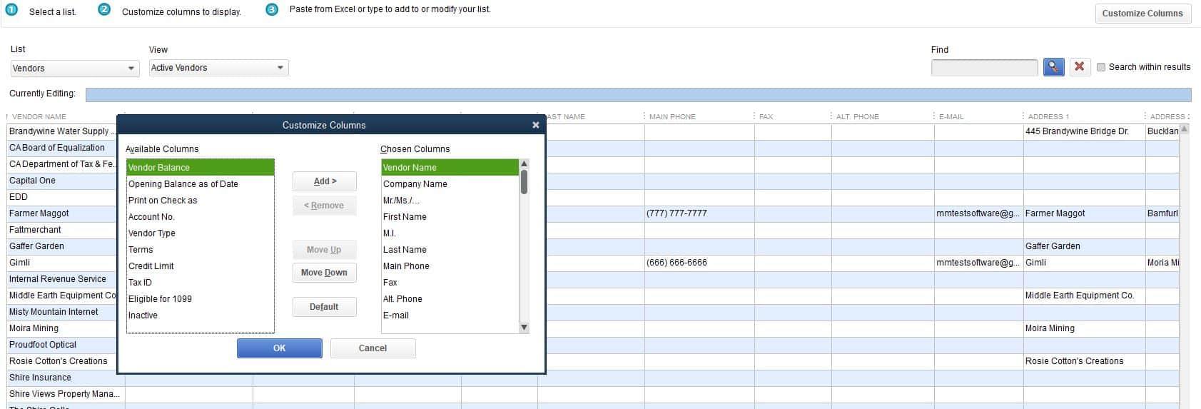 Tax IDs in QuickBooks Pro