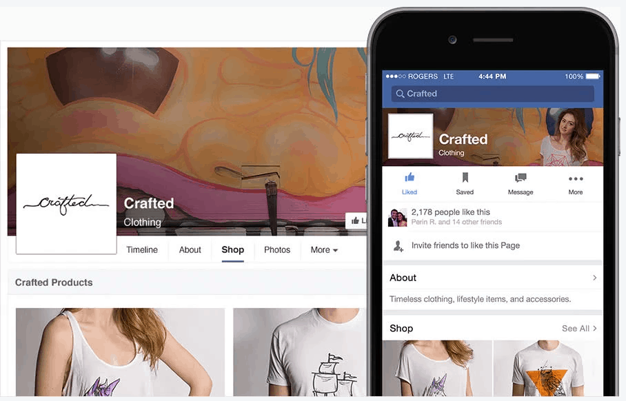 shopify store on facebook and mobile