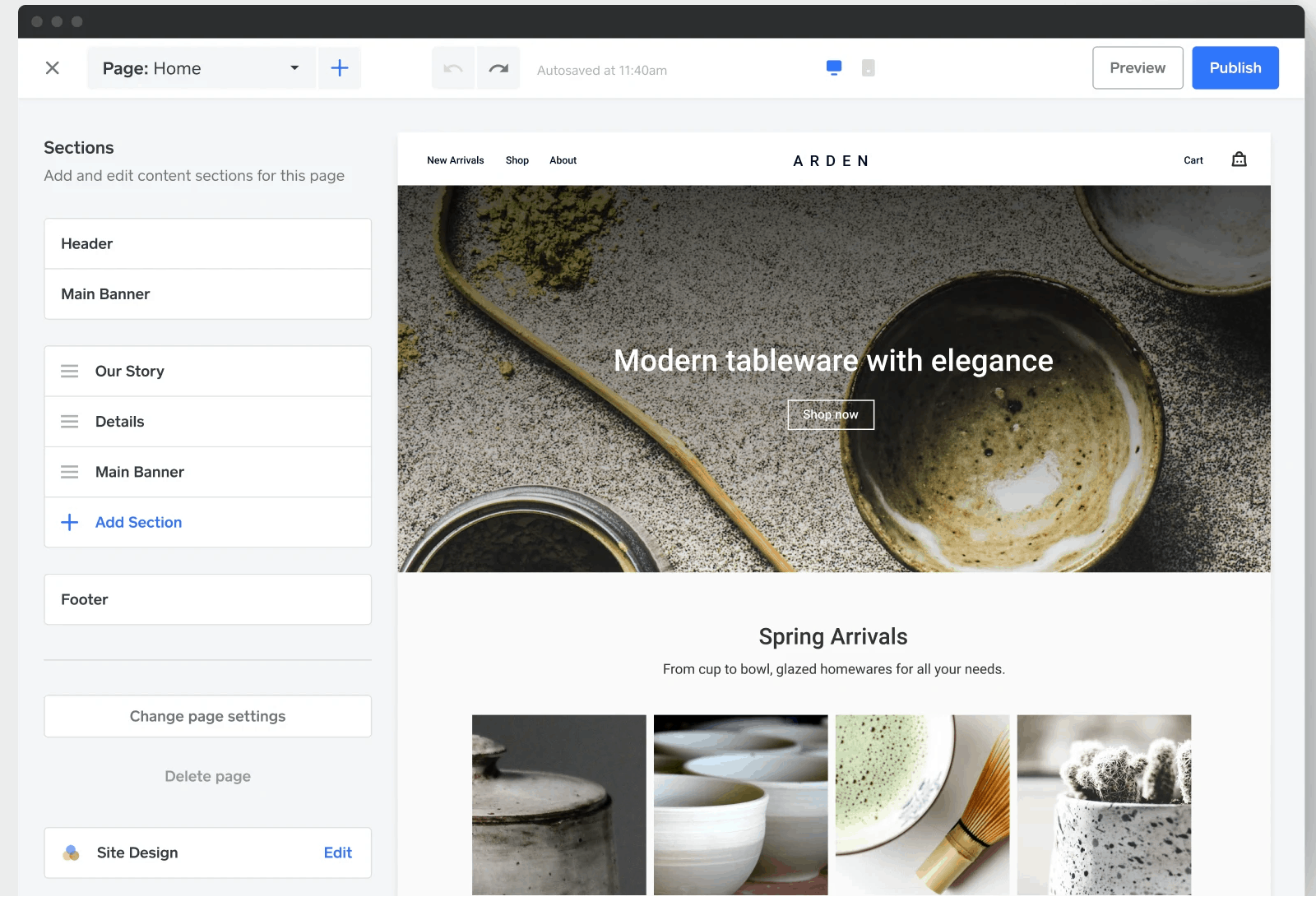 square online store builder for retail website