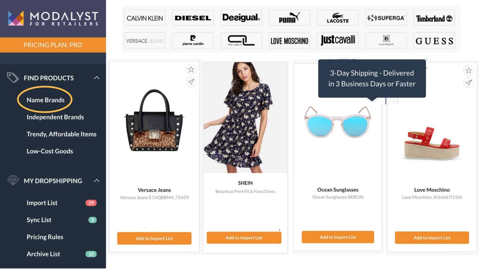Modalyst dashboard: Best Shopify dropshipping apps