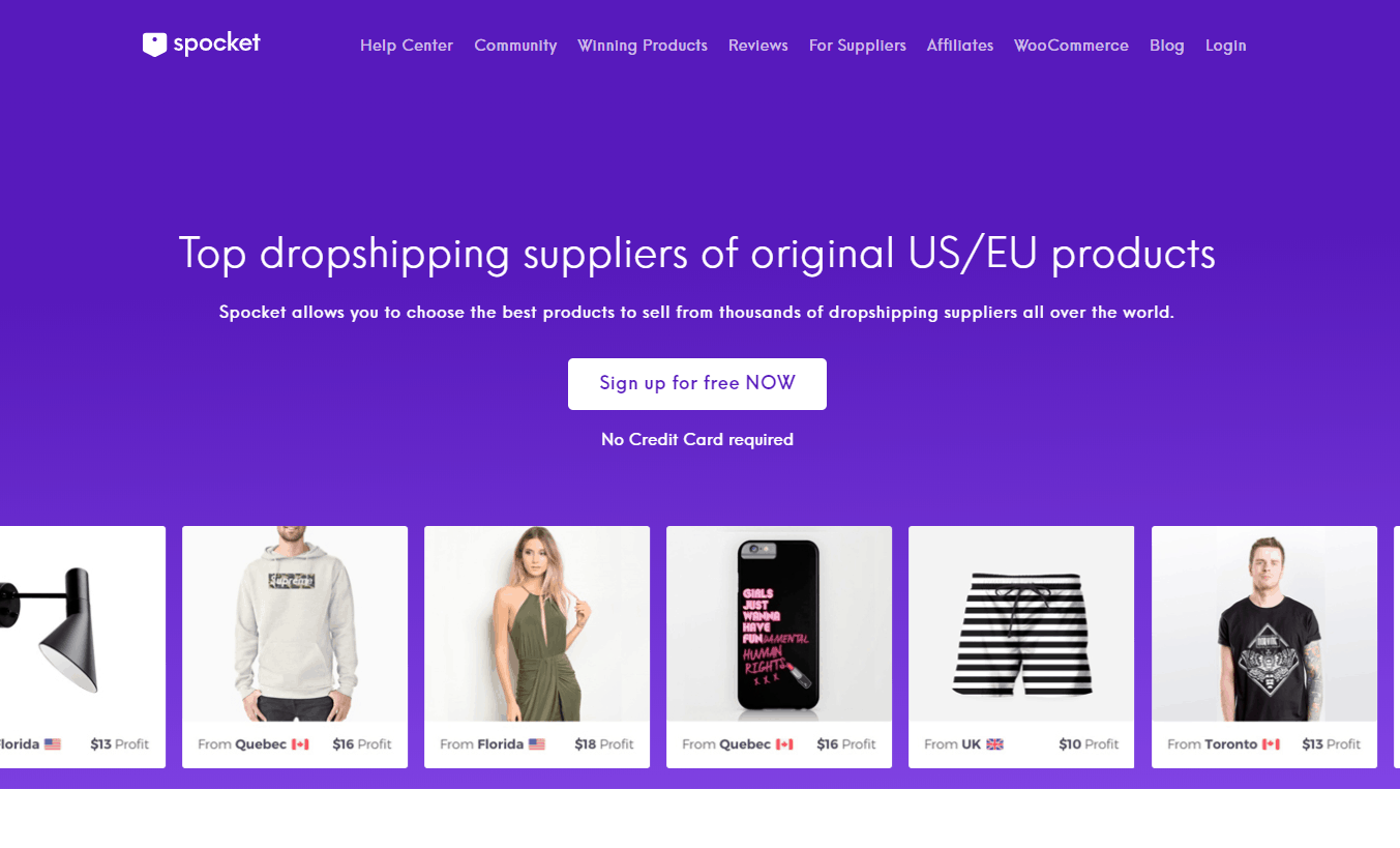Spocket webpage: Best Shopify dropshipping apps