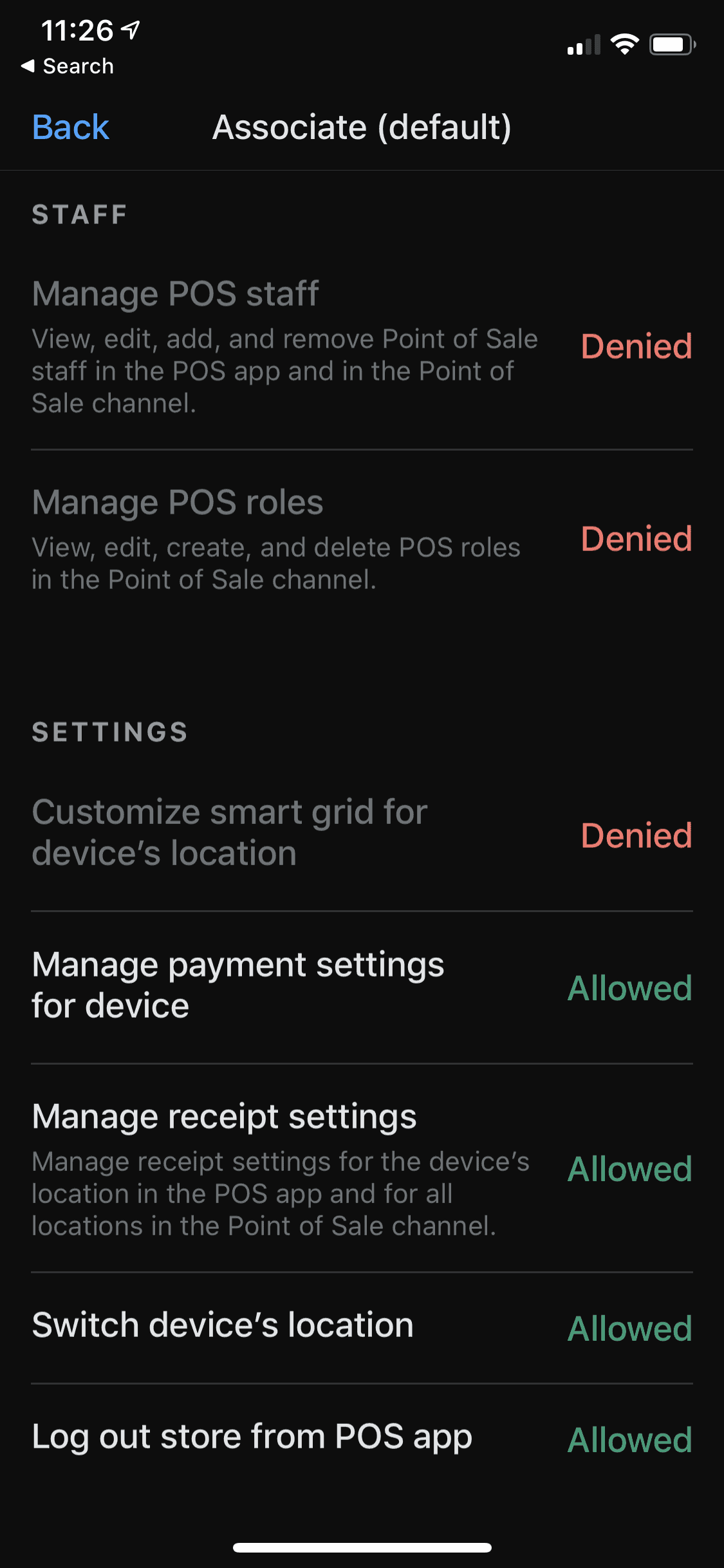 Shopify POS Pro staff permissions on iPhone