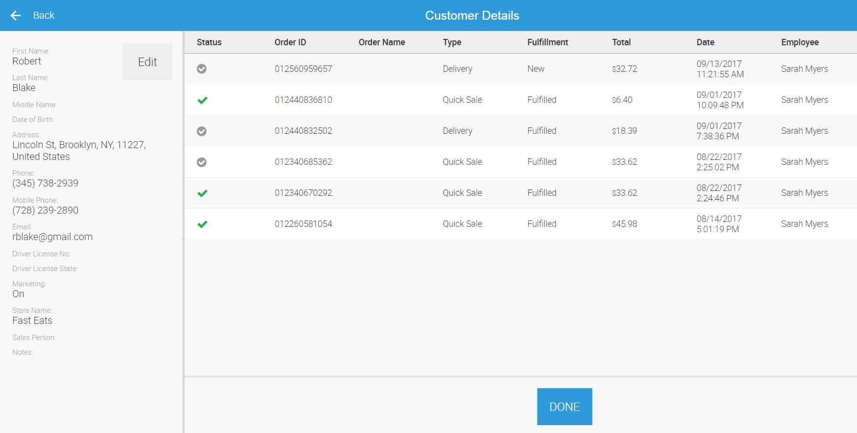 ehopper customer purchase history