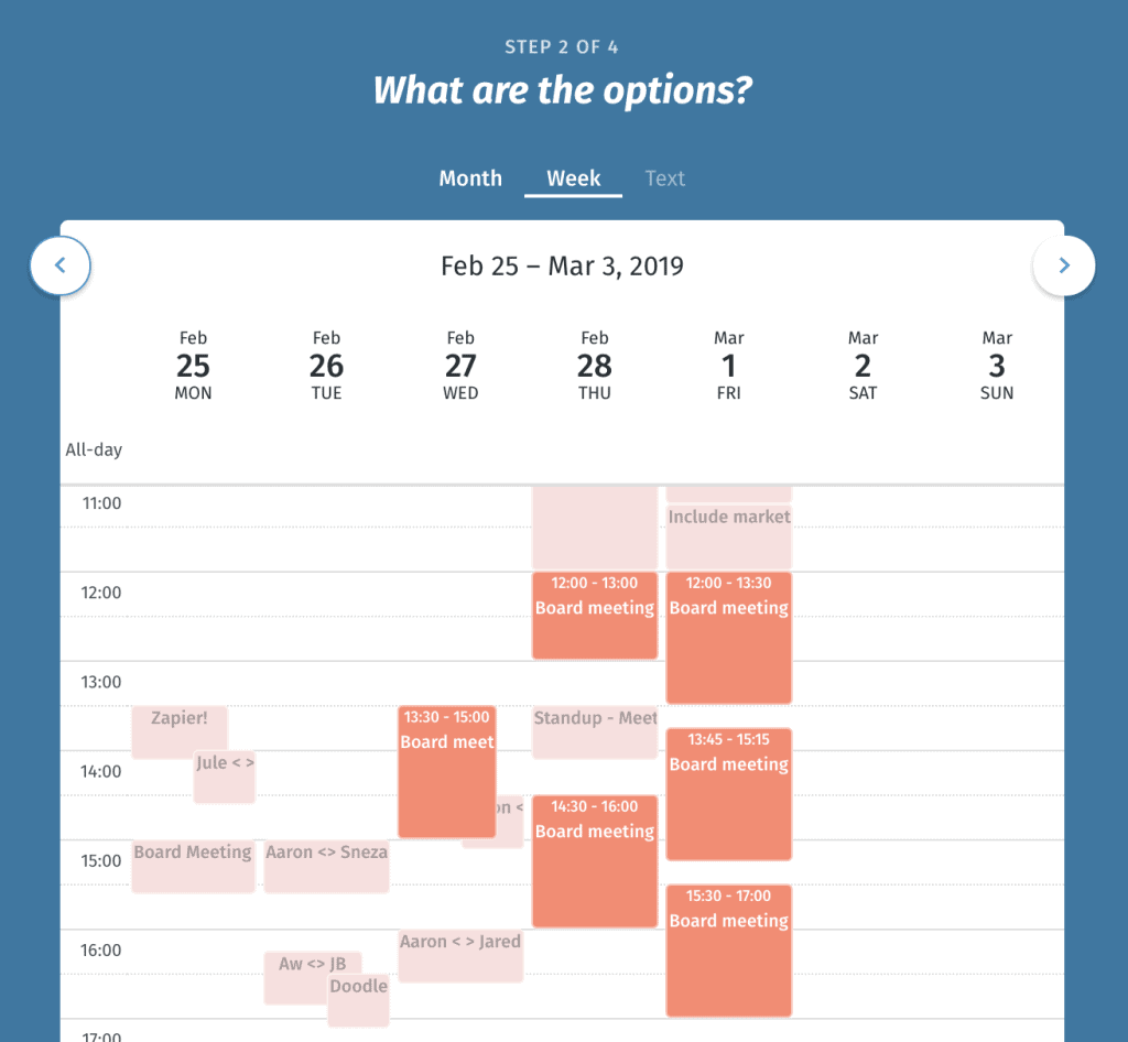 Screengrab of a Doodle Booking Software calendar page