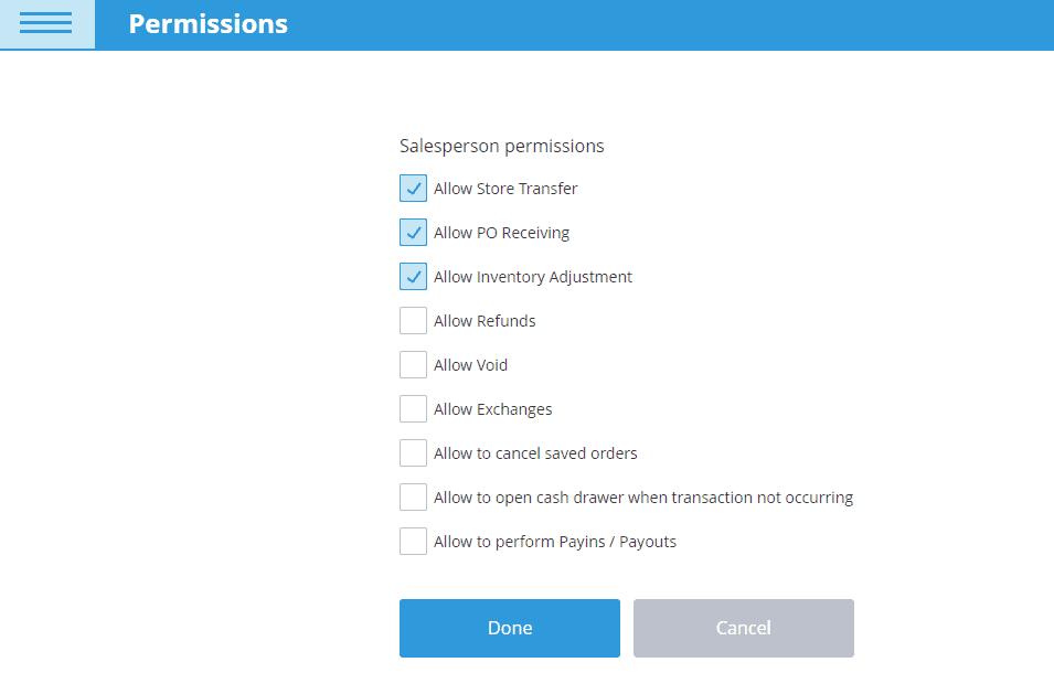ehopper pos employee permissions