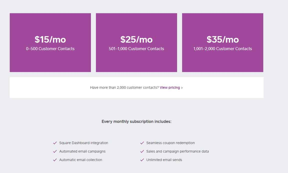 Square Email Marketing Pricing Costs