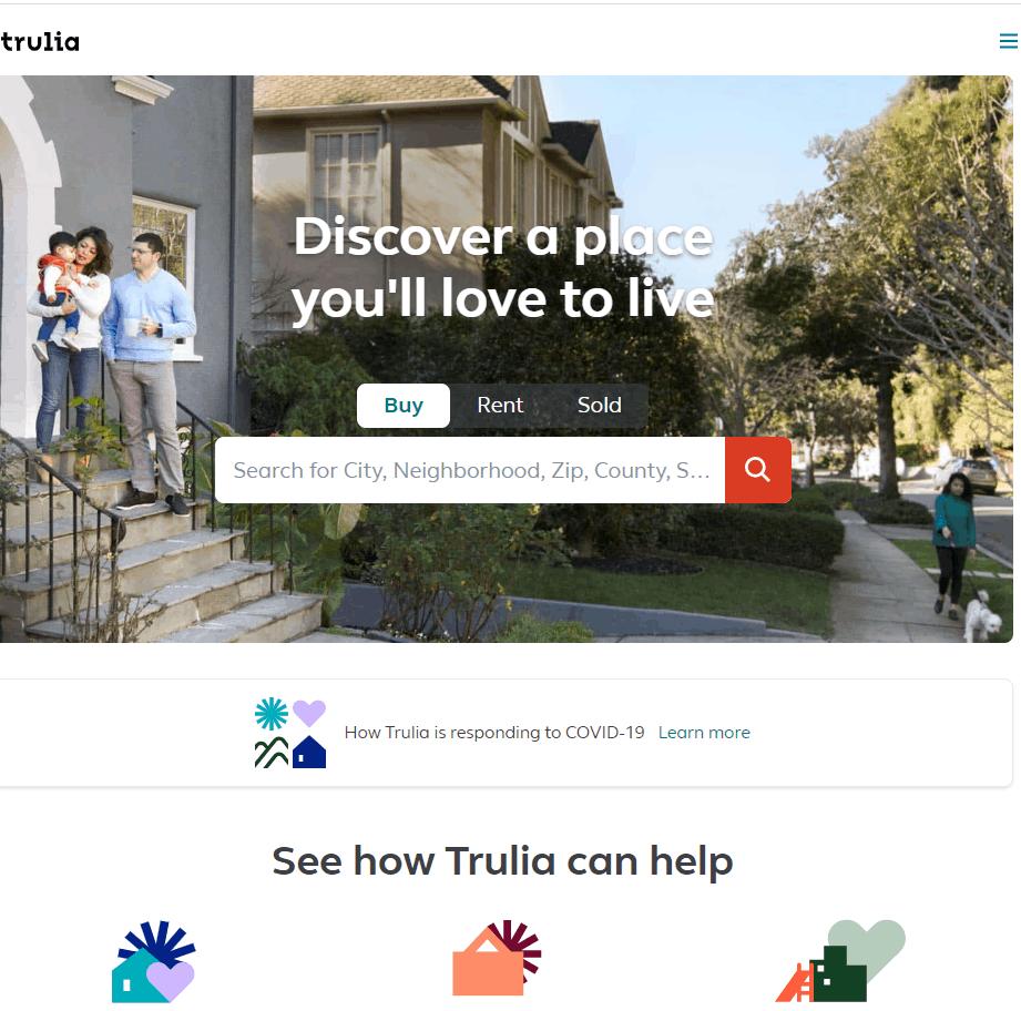 Screengrab of Trulia.com landing page