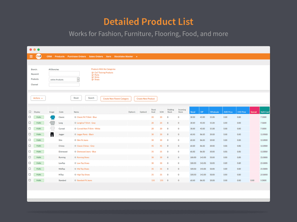 Screengrab of Cin7 product management feature