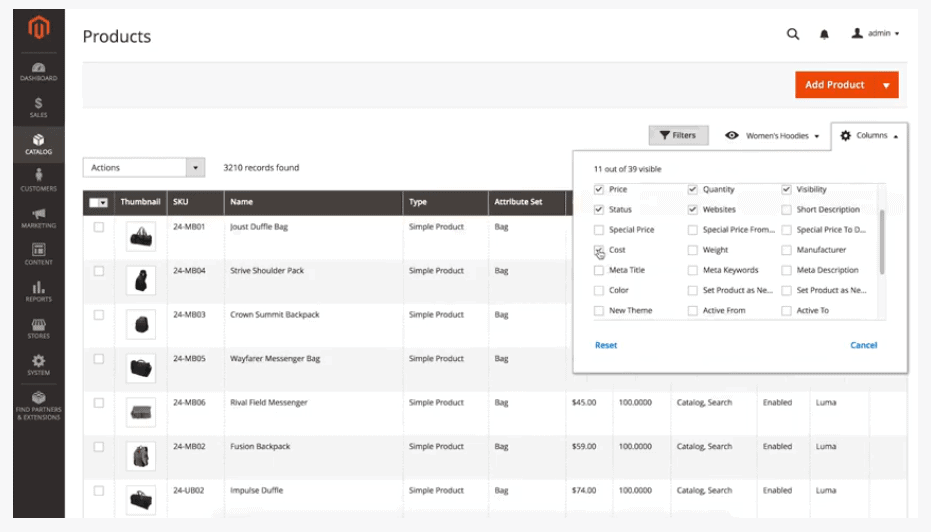 Screengrab showing product filters available in Magento's admin