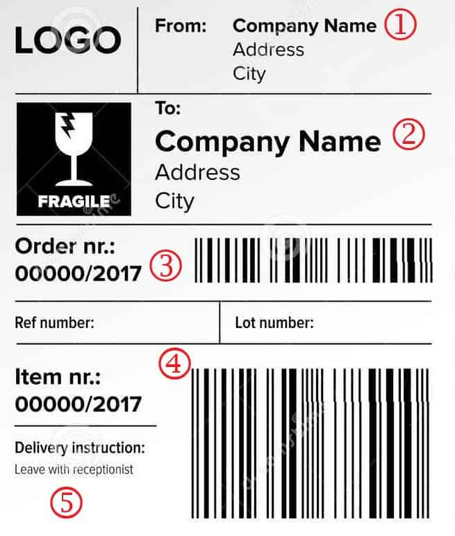 Sample of a shipping label