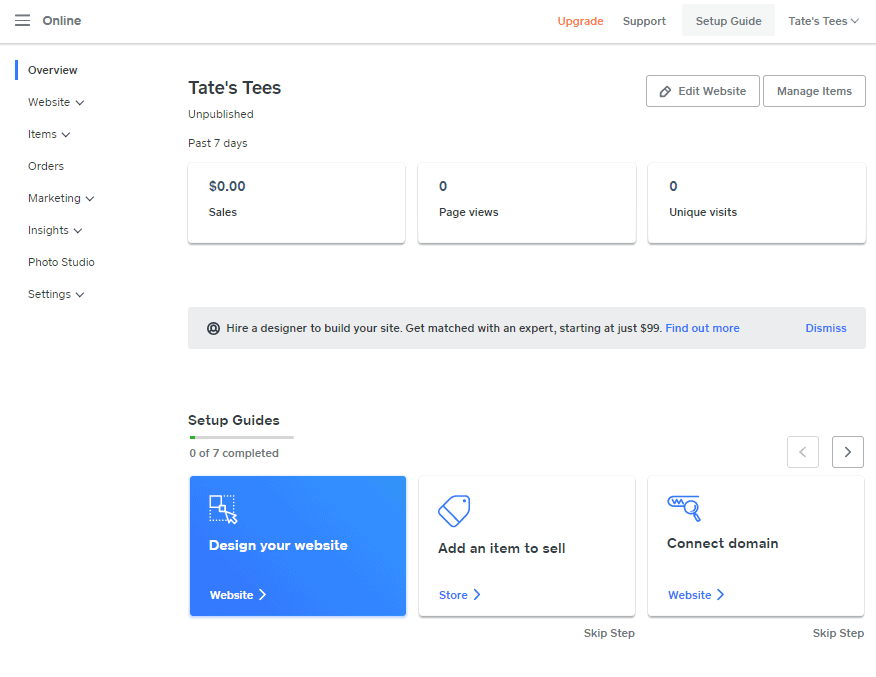 Screengrab showing setup guides that will help you set up your Weebly store