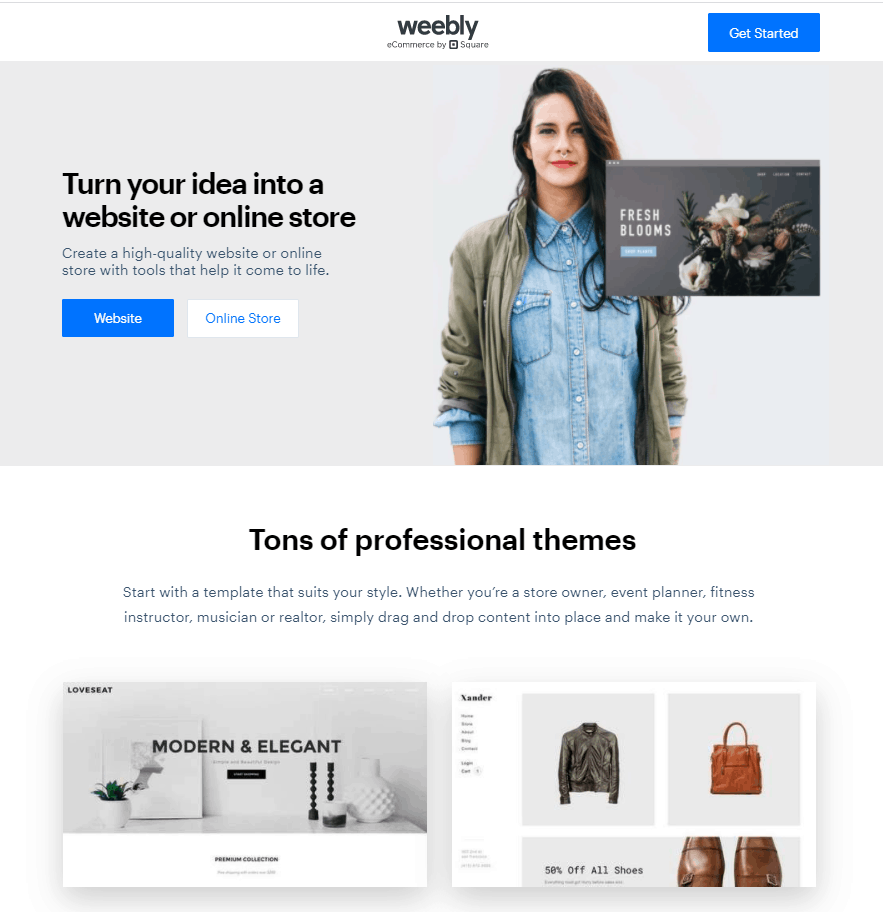 Screengrab showing how to sign up to build a website with Weebly