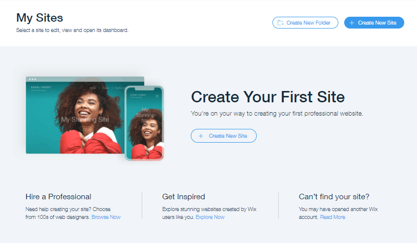 Screengrab showing start page as first step in how to build a Wix website