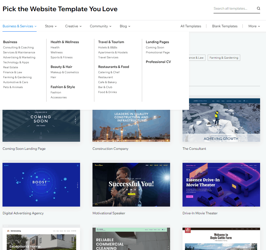 Screengrab showing categories choices you can consider as you plan how to design your Wix website