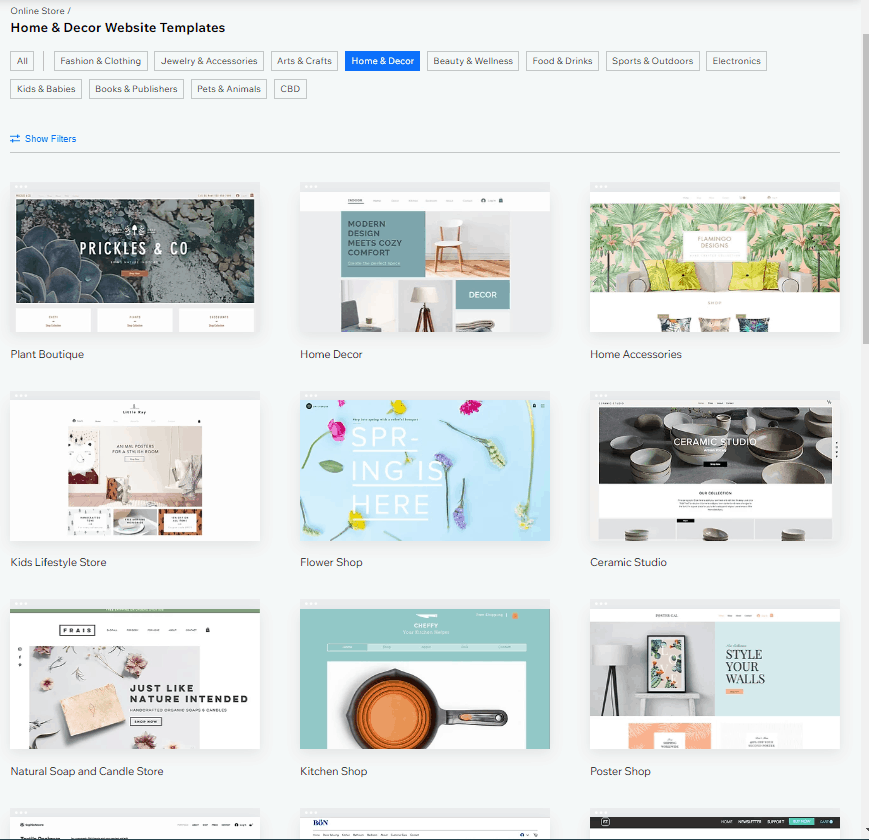 Screengrab showing how to pick a template for your Wix webstore