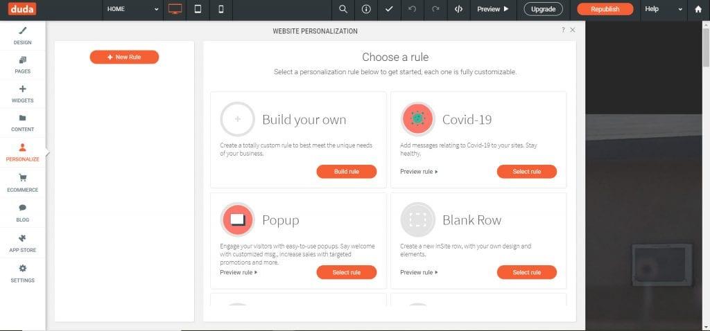 duda settings and personalizations