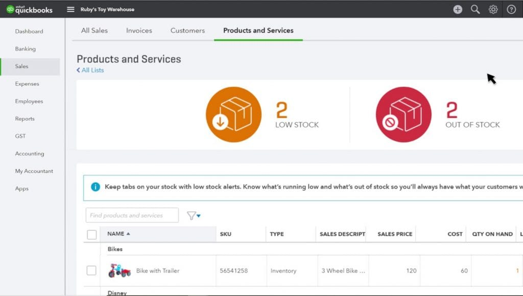 Screengrab of QuickBooks Online inventory page