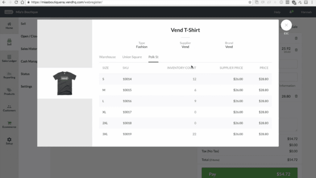 Screengrab of Vend inventory management product page