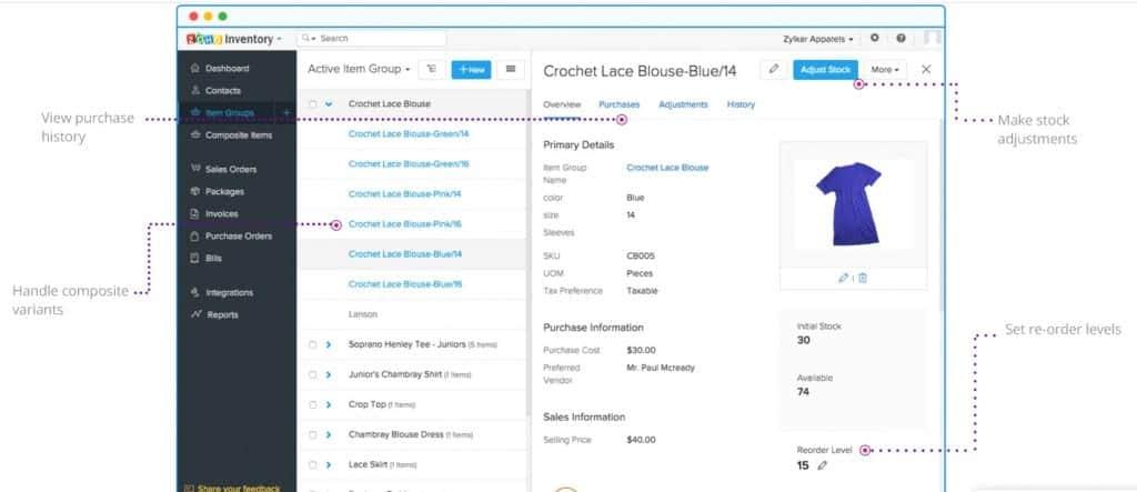 Screengrab of Zoho Inventory admin panel