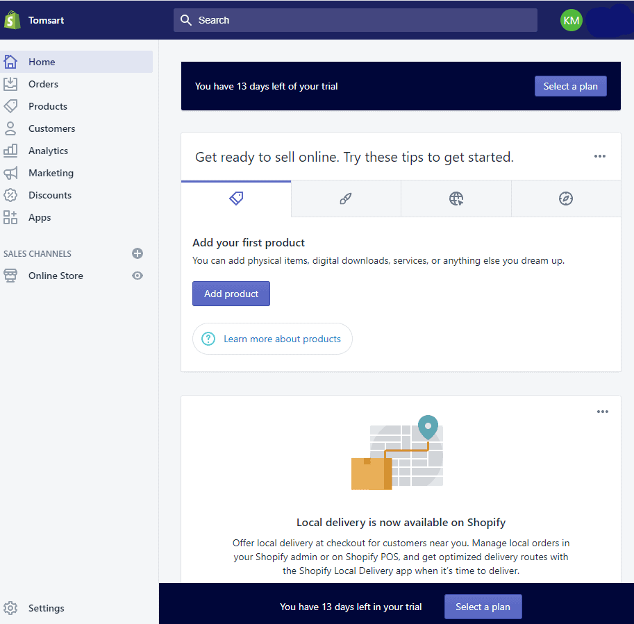 Screengrab showing steps in setting up a Shopify eCommerce site