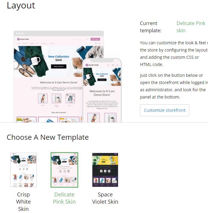 Screengrab showing free X-Cart themes