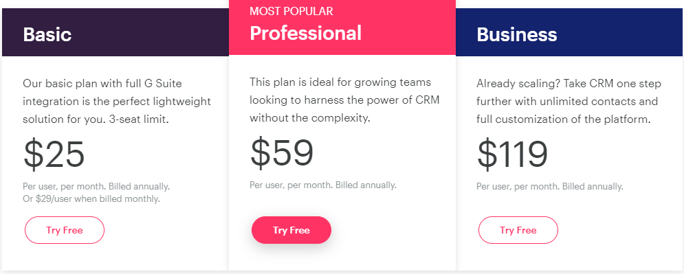Screengrab of Copper CRM pricing plans