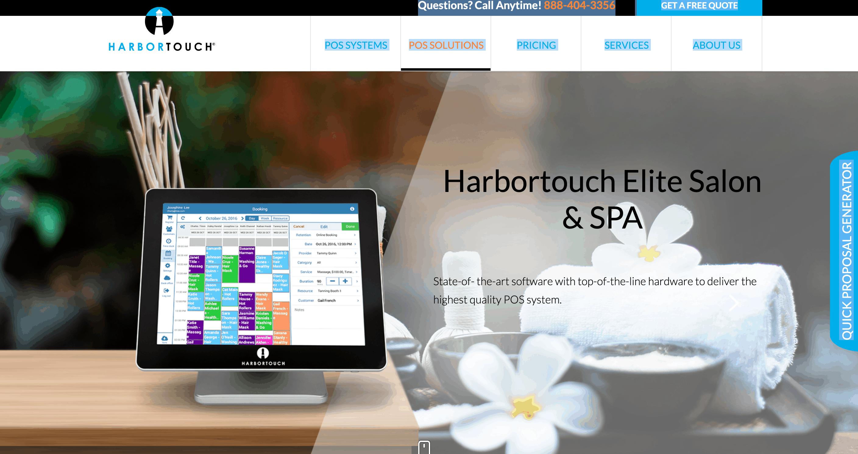 harbortouch salon pos website screenshot