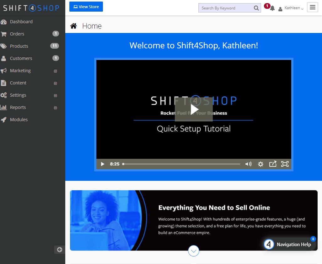 Screengrab of Shift4Shop dashboard