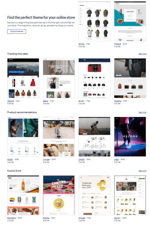 Screengrab of a sampling of Shopify themes