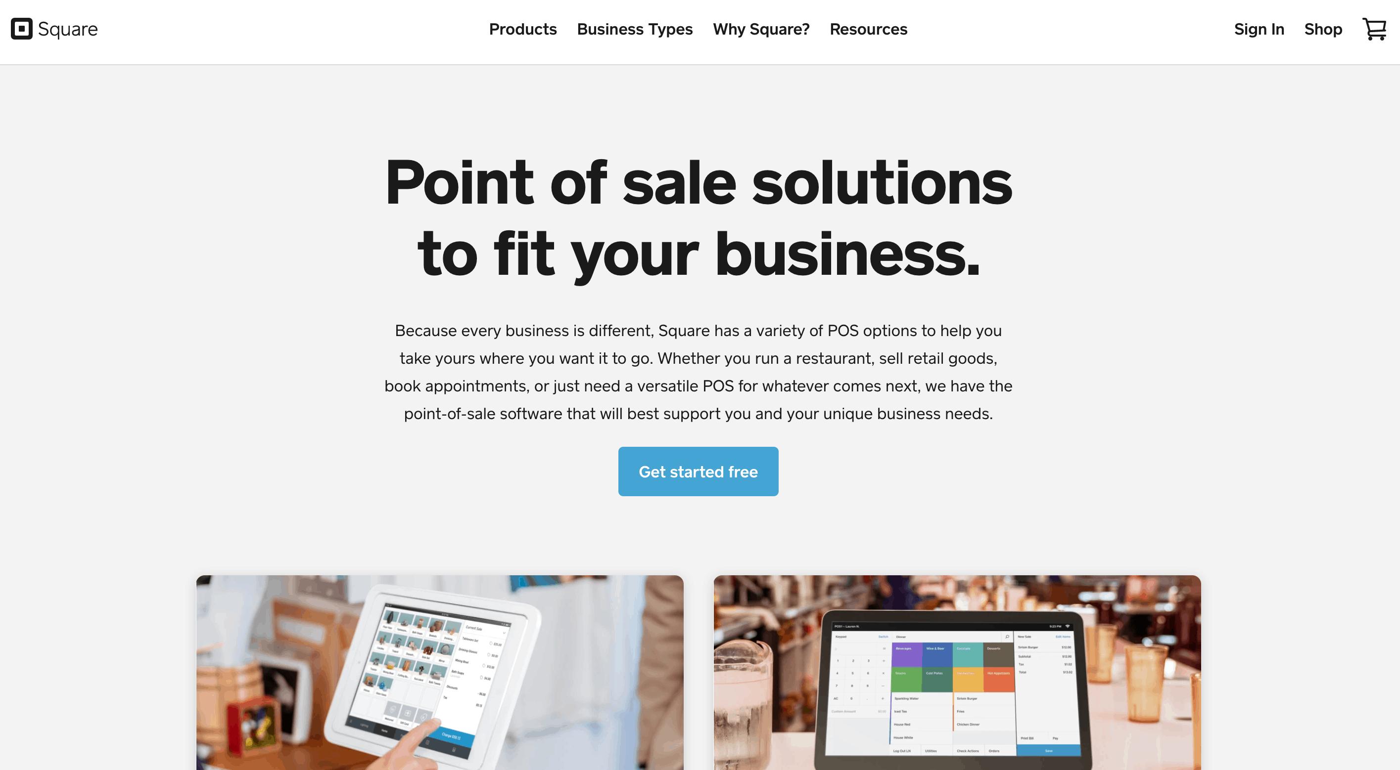 square pos homepage screenshot