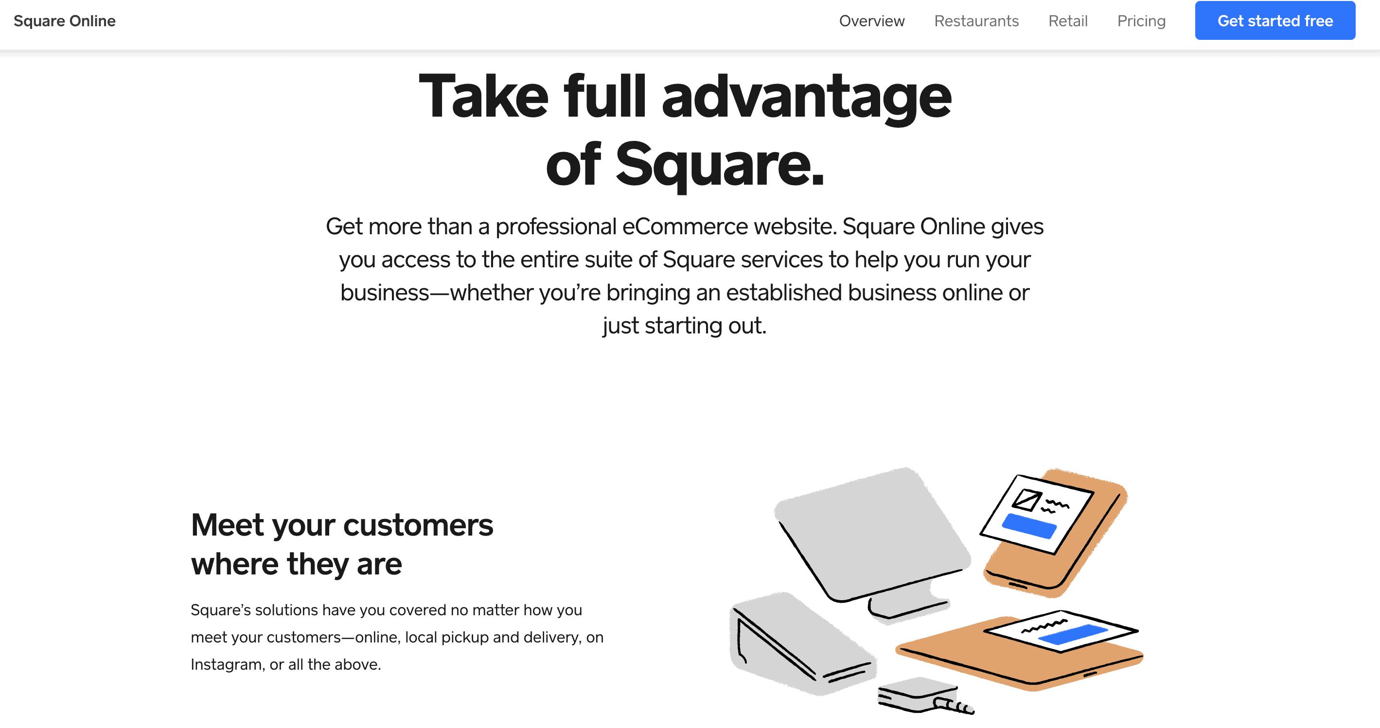 square online store website informational screenshot