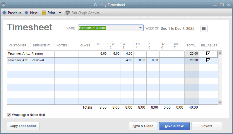 QuickBooks Desktop Payroll Review Time Tracking