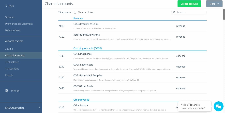 Sunrise Review Chart Of Accounts
