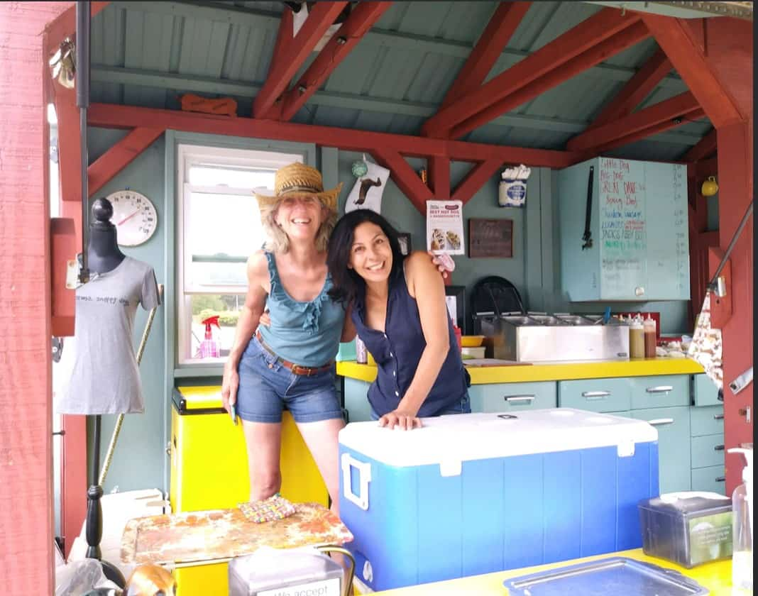 Snappy Dogs owners Teresa Boyce and Lisa Volpe Hachey in their mobile eatery
