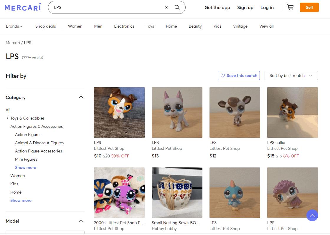 Screengrab of Mercari search