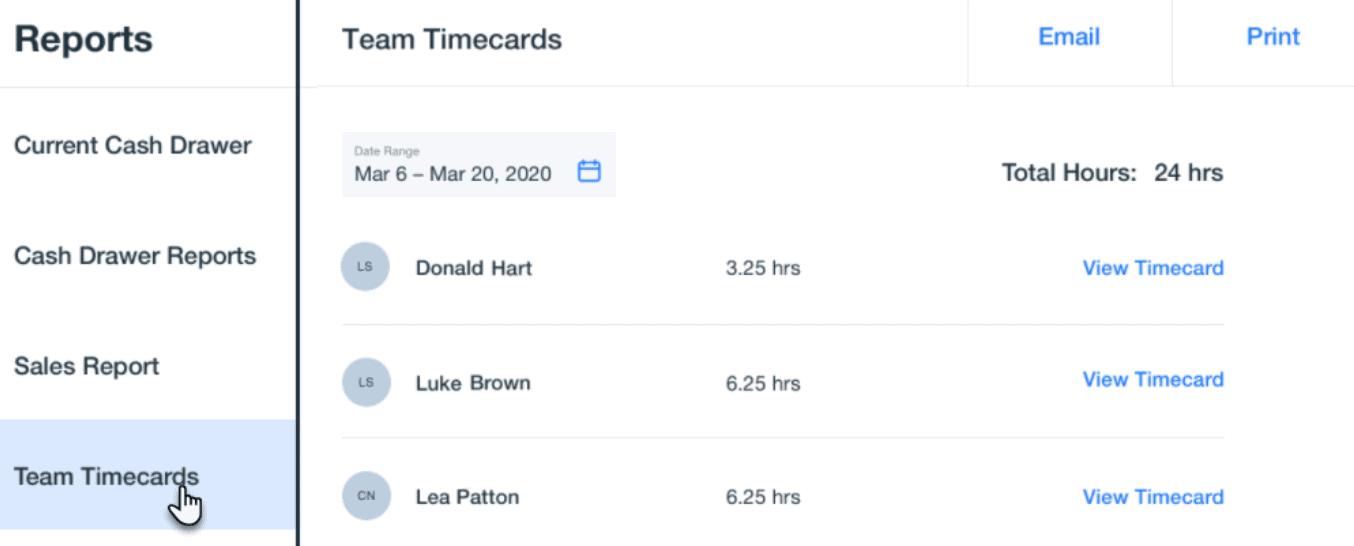 wix pos employee timecards